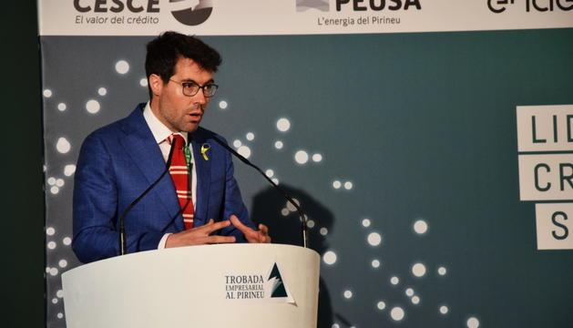 L'alcalde de la Seu d'Urgell, ahir, en la primera jornada de la Trobada Empresarial al Pirineu.