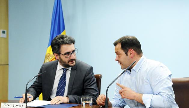 Eric Jover i David Garcia durant la roda de premsa que van oferir de manera conjunta.