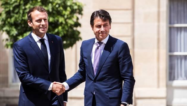 Emmanuel Macron i Giuseppe Conte, ahir durant la seva trobada a París.