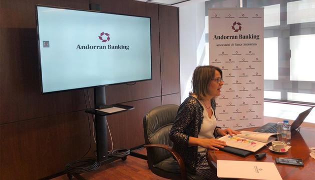 Esther Puigcercós a la presentació de l'informe anual d'Andorran Banking