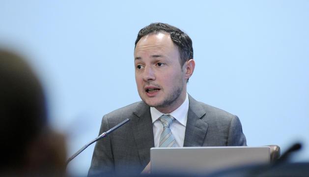El ministre Xavier Espot, durant la roda de premsa posterior al consell de ministres