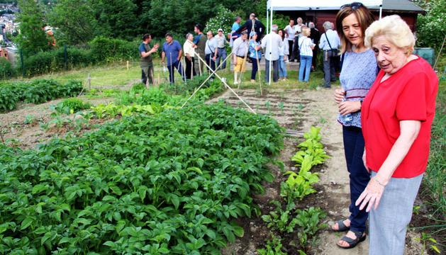 Esther París durant la inauguració dels horts, ahir.