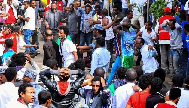 Imatge posterior a l'atemptat d'ahir a Addis Abeba.