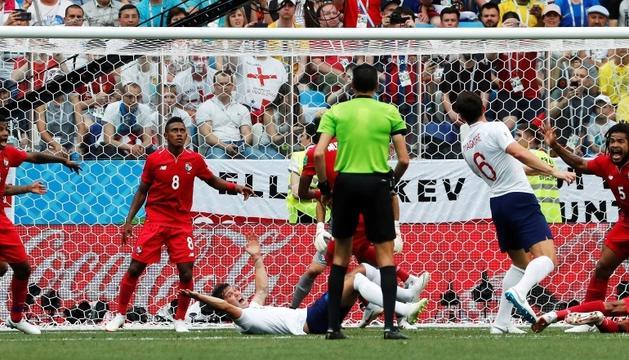 Instant del partit d'ahir entre les seleccions d'Anglaterra i Panamà.