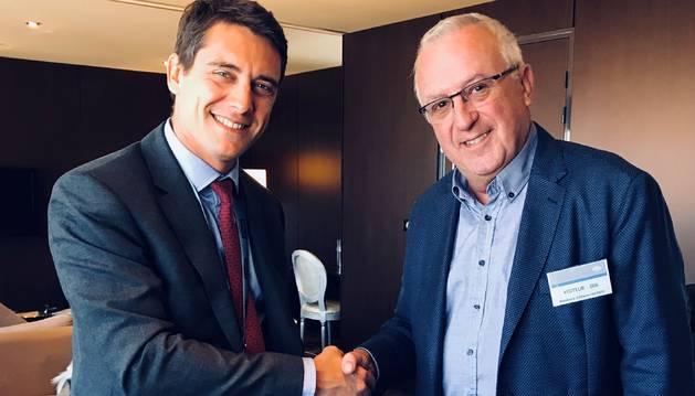 Miquel Armengol, president de la Cambra de Comerç, i Thomas Lagaillarde, director general de Navblue França