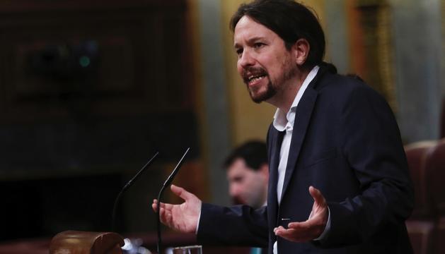 El líder de Podem, Pablo Iglesias, ahir al Congrés.