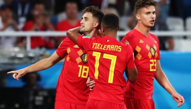 La celebració dels belgues, en l'únic gol del darrer partit de la fase de grups.