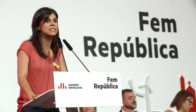La portaveu d'ERC, Marta Vilalta, durant la seva intervenció, ahir.