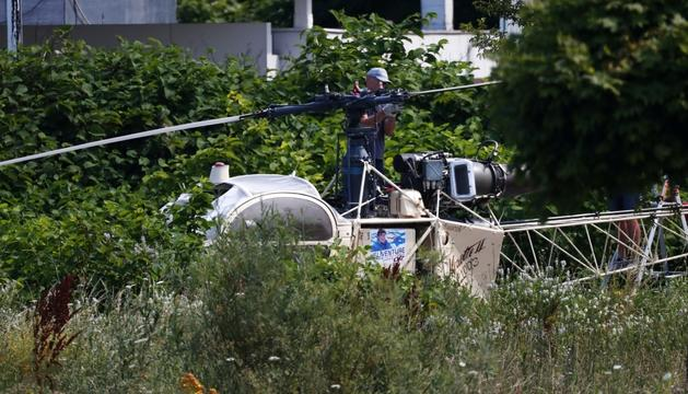 L'helicòpter abandonat amb el qual Faid va escapar de la presó.