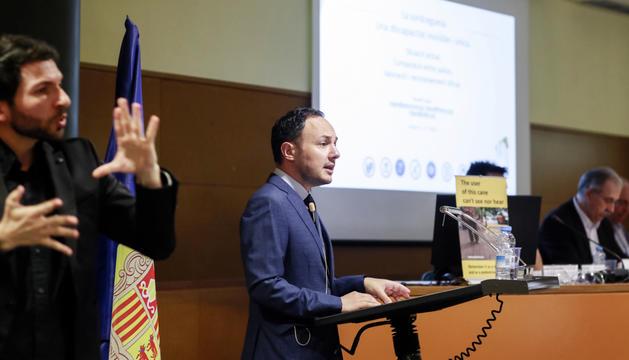 El ministre d'Afers Socials, Xavier Espot, durant la jornada tècnica per commemorar el Dia mundial de la sordceguesa.