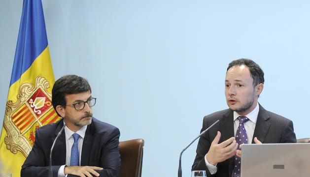 El ministre d'Afers Socials, Justícia i Interior, Xavier Espot, i el ministre portaveu, Jordi Cinca