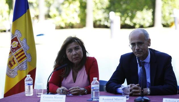 La cònsol major d'Andorra la Vella, Conxita Marsol, i el cap de Govern, Toni Martí.