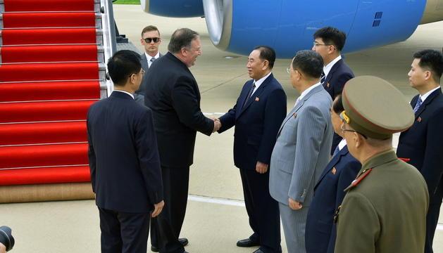 Mike Pompeo durant la visita a Corea del Nord.