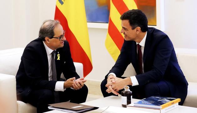 Quim Torra i Pedro Sánchez, ahir durant la trobada a la Moncloa.