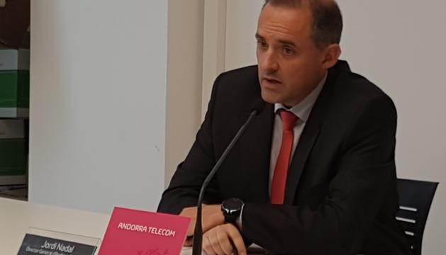 Jordi Nadal, director general d'Andorra Telecom, durant la roda de premsa d'aquest matí