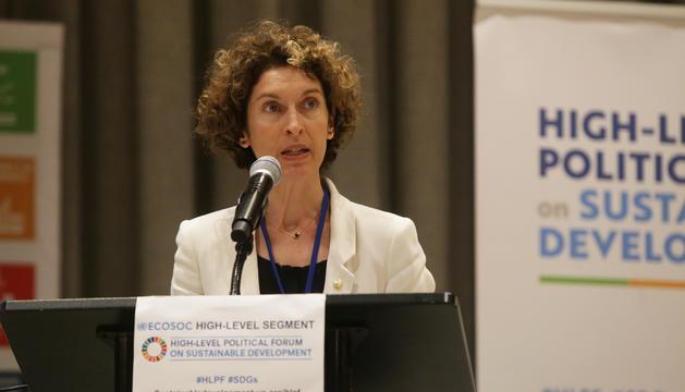 La ministra d'Afers Exteriors, Maria Ubach, durant el discurs a les Nacions Unides