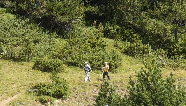 Excursionistes fent una ruta.