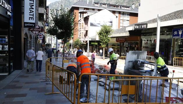 Operaris treballant en la remodelació de l'avinguda Carlemany
