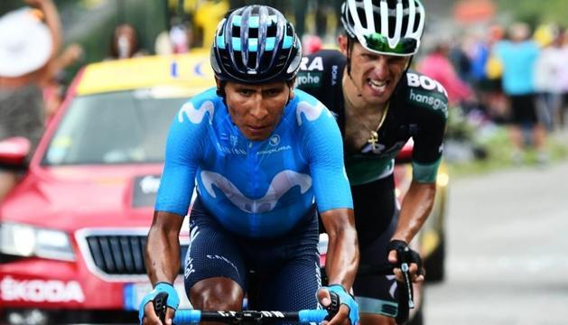 Nairo Quintana (Movistar) i Rafal Majka (Bora) en un moment de l'etapa d'ahir.