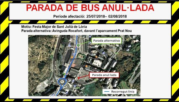 Mapa del canvi de parada del bus.
