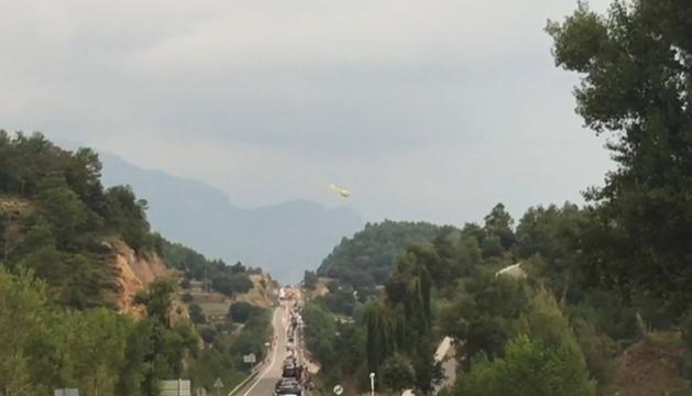 Retencions a la via per l'accident en el moment que l'helicòpter feia una evacuació.