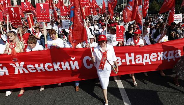 Manifestants als carrers de Moscou.