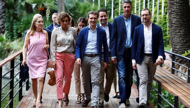 El president del Partit Popular, Pablo Casado, ahir a Barcelona.