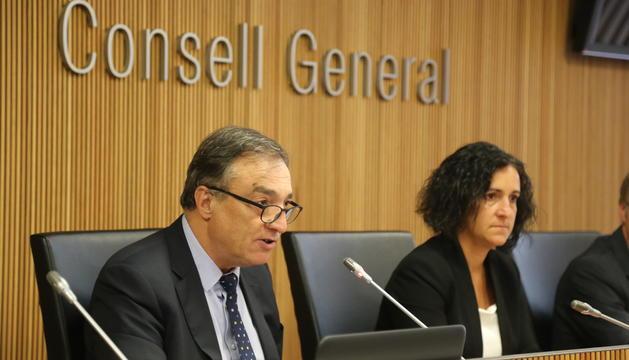 Marc Vila durant la lectura de l'informe anual de 2017 al Consell General, avui
