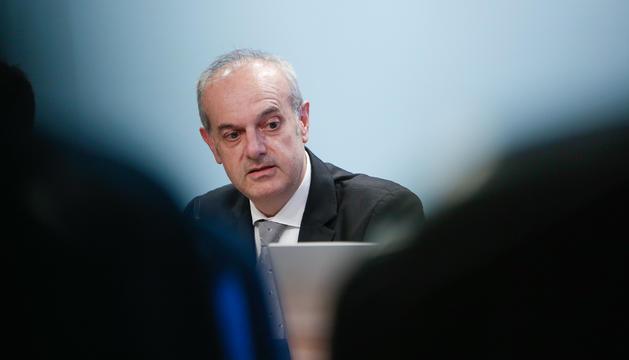 El ministre Carles Álvarez Marfany, a la roda de premsa posterior al Consell de Ministres, avui
