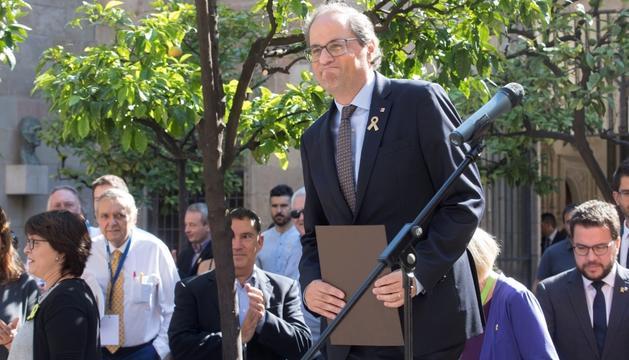 El president de la Generalitat, Quim Torra, durant l'acte d'ahir.