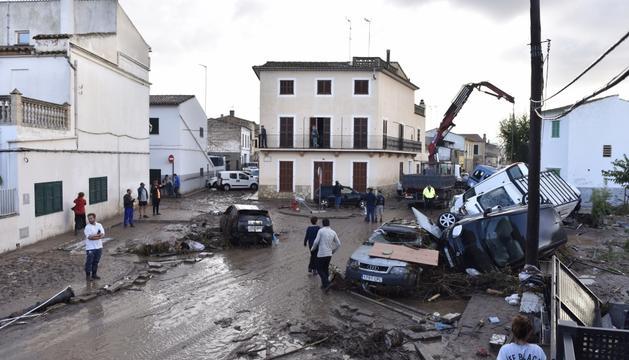 El centre de la localitat de Sant Llorenç des Cardassar, després de les inundacions.