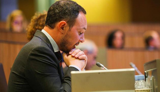 El ministre d'Afers Socials, Justícia i Interior, Xavier Espot, ahir al Consell General.