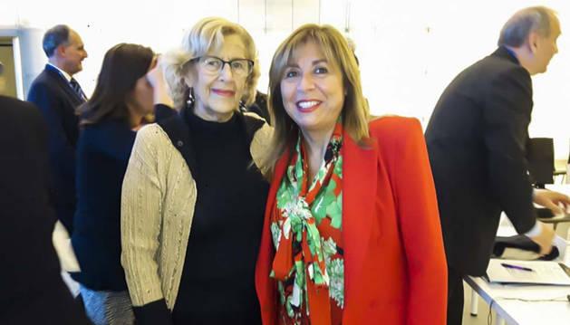 Conxita Marsol i l'alcaldessa de Madrid,Manuela Carmena, ahir.