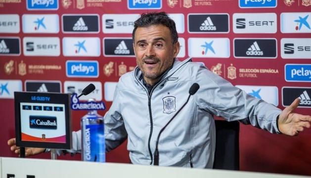 El seleccionador, Luis Enrique Martínez, ahir a la Ciudad del Fútbol de Las Rozas.