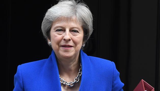 Theresa May, ahir durant la seva compareixença davant els mitjans de comunicació.