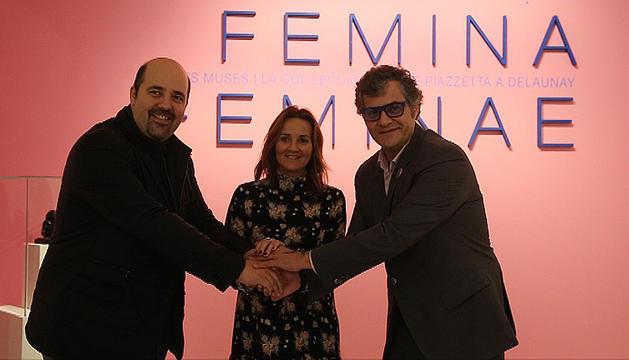 El president de Morabanc Andorra, Gotka Aixàs, la ministra de Cultura, Olga Gelabert i el director del museu, Guillermo Cervera