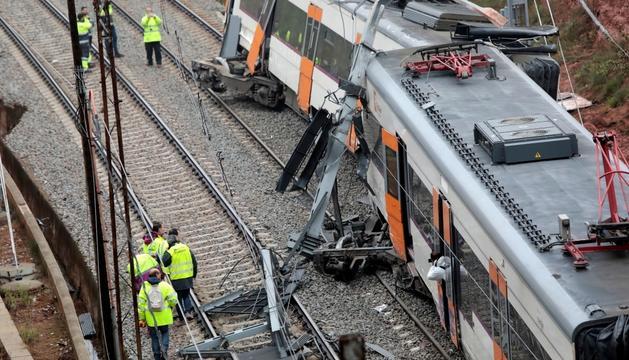 El tren accidentat ahir a Vacarisses.