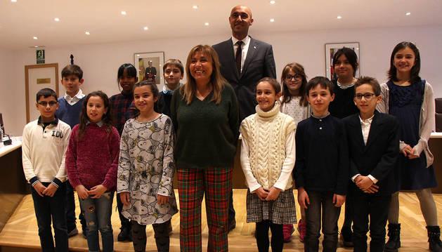 Els estudiants participants de la tercera edició del Consell d'Infants, avui