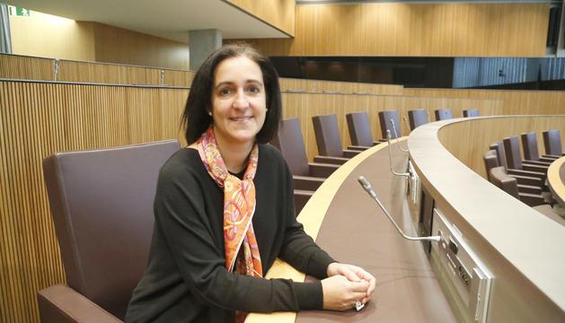 La consellera general Sofia Garrallà al seu escó del Consell General.
