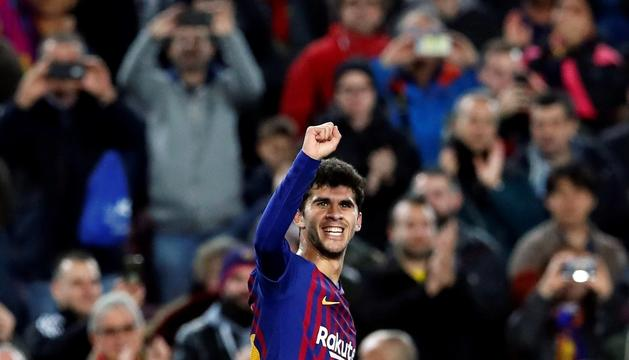 Aleñá celebrant el gol ahir.