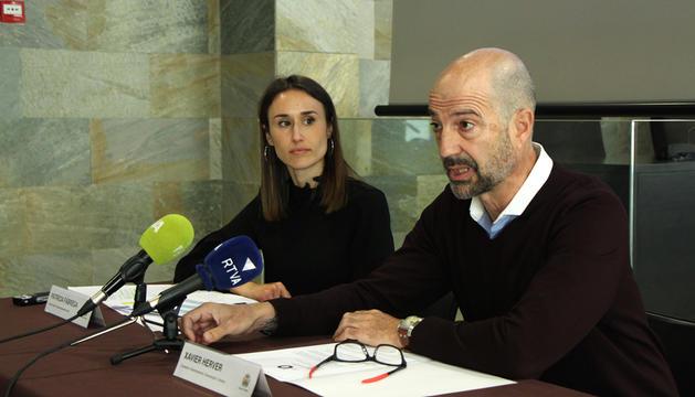 Patrícia Fàbrega i Xavier Herver, ahir durant la presentació.