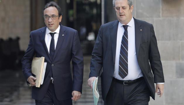 Els exconsellers de la Generalitat Josep Rull i Joaquim Forn.