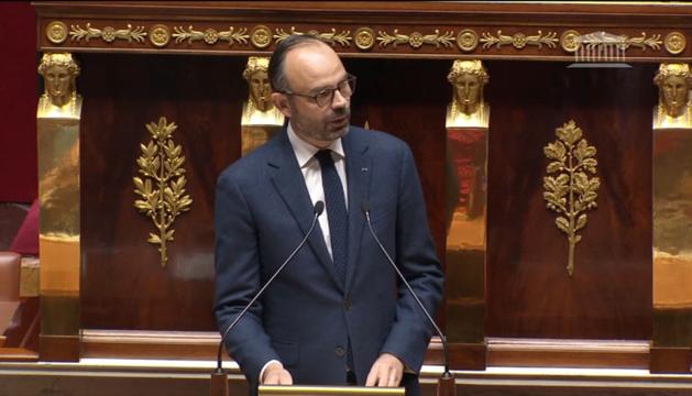 El primer ministre francès, Edouard Philippe, ahir a l'Assemblea Nacional francesa.