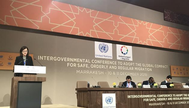 L'ambaixadora d'Andorra a l'ONU durant el seu discurs a la conferència