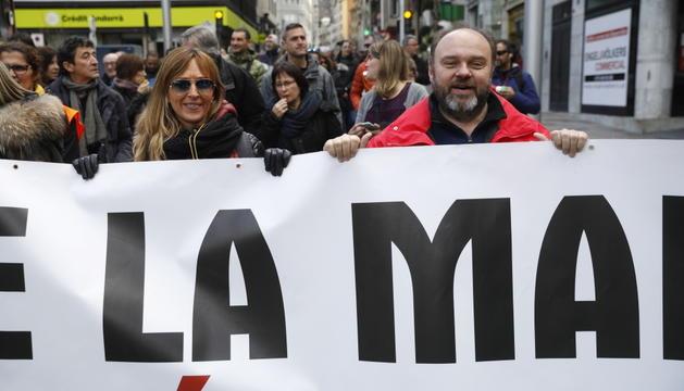 Gabriel Ubach, durant una manifestació contra la reforma de Llei de la funció pública.