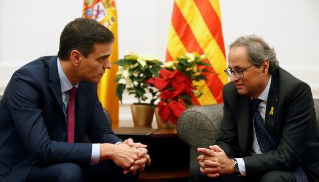 Quim Torra i Pedro Sánchez, ahir a Barcelona.