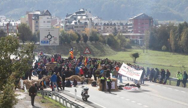 Tall per una protesta independentista de l'N-145 a la Seu d'Urgell l'any passat.