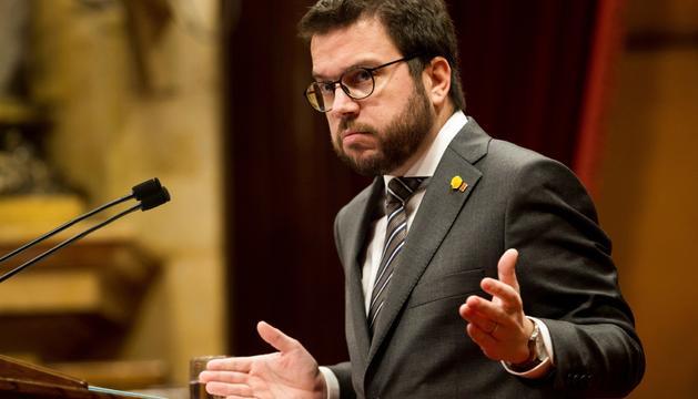 El vicepresident de la Generalitat i conseller d'Economia, Pere Aragonès, en una sessió al Parlament.