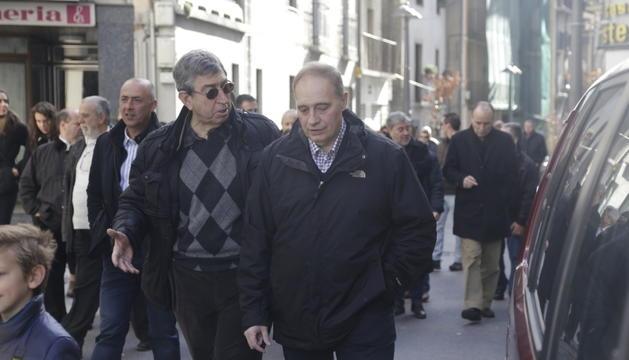 Albert i Josep Pintat, el primer dia de la campanya electoral d'Unió Laurediana per a les comunals del 2015.