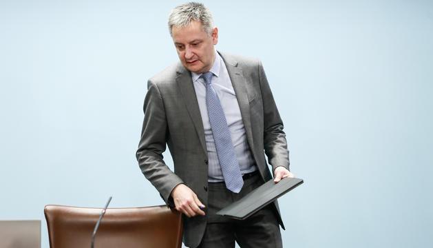 El ministre d'Economia, Gilbert Saboya, durant la roda de premsa posterior al Consell de Ministres